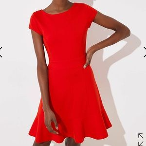 NWT Loft Ponte Flounce Flare Red Dress